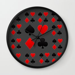 RED & BLACK PLAYING CARD  ART ON CHARCOAL GREY Wall Clock