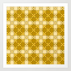 Puzzle Pattern,yellow Art Print
