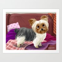 yorkie Art Prints featuring Yorkie by Bark Point Studio