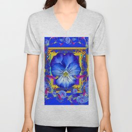 DECORATIVE BLUE PANSY & VINING  MORNING GLORIES Unisex V-Neck