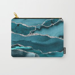 Glamour Turquoise Blue Bohemian Watercolor Marble With Silver Glitter Veins Carry-All Pouch