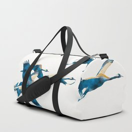 Beautiful Cranes in white background Duffle Bag