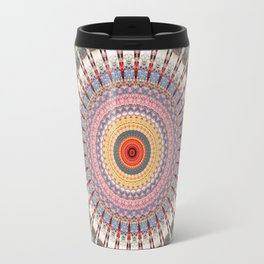 Teal Orange Yellow Boho Mandala Travel Mug