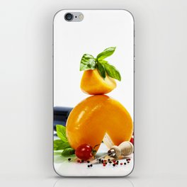 Wine, cheese and italian ingredients over white iPhone Skin