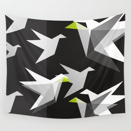 Black and White Paper Cranes Wall Tapestry