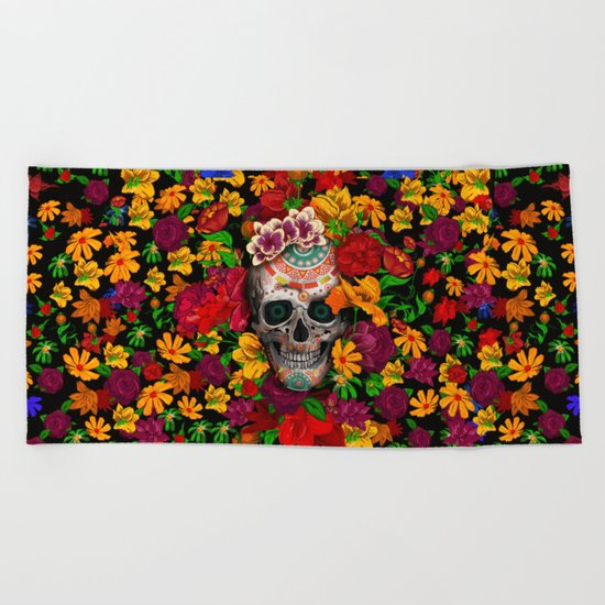 Day of the dead sugar skull flower iPhone 4 4s 5 5c 6, ipod, ipad, pillow case Beach Towel