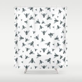 Fly Dotwork Shower Curtain