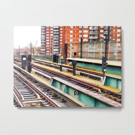Subway platform at Bay 50 street Metal Print