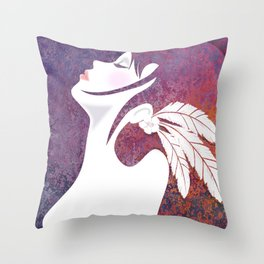 Lady with Feathers Throw Pillow