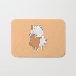 Bull Terrier Hugs Bath Mat