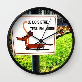 Rennes, France Dachshund Leash Sign in Park Wall Clock