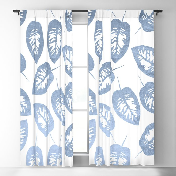 Blue leaves pattern Blackout Curtain