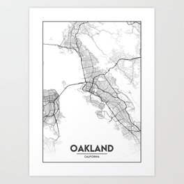 Minimal City Maps - Map Of Oakland, California, United States Art Print