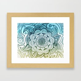 Mandala Blue Yellow Framed Art Print