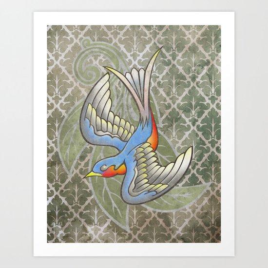 Sparrow tattoo Art Print