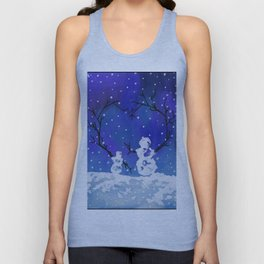 The Heart of Snowmen on a Winter Snowfall Day by annmariescreations Unisex Tank Top