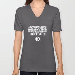 Unstoppable Unbreakable Undefeated Bitcoin (BTC) Unisex V-Neck