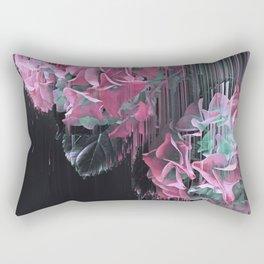 Glitch Pink Hydrangea Rectangular Pillow