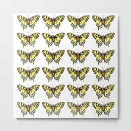 Watercolor Yellow Butterfly Pattern Metal Print