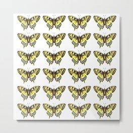Watercolor Yellow Butterfly Pattern Metal Print