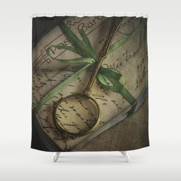 Old style loupe and vintage letters Shower Curtain