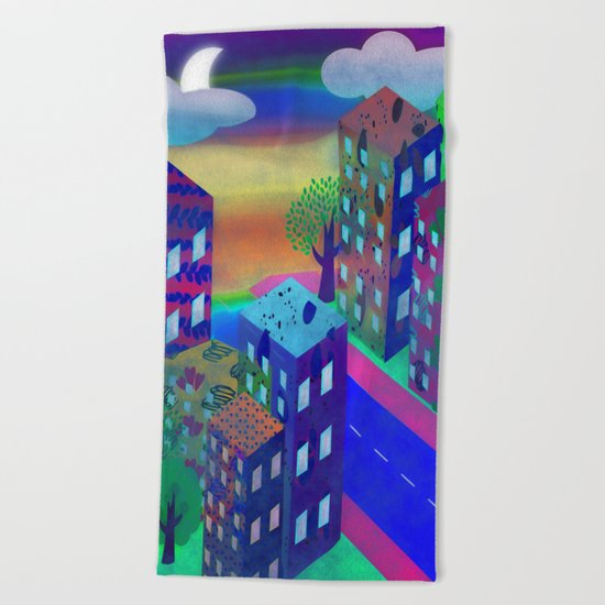Abstract Urban At Night Beach Towel