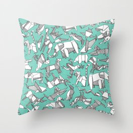 origami animal ditsy mint Throw Pillow