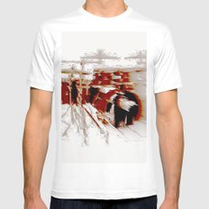 Fast Drumming White Mens Fitted Tee LARGE