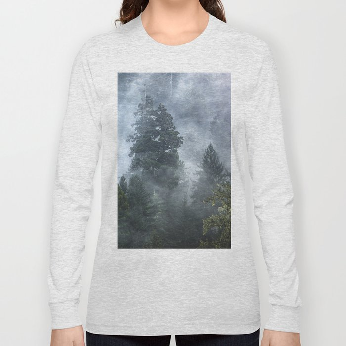 Smoky Redwood Forest Foggy Woods - Nature Photography Long Sleeve T-shirt