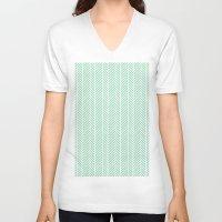 herringbone V-neck T-shirts featuring Herringbone Mint Inverse by Project M