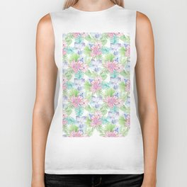 Modern rose pink lavender green watercolor tropical floral Biker Tank