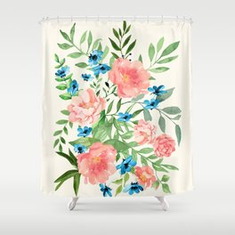 Watercolor Peonies Shower Curtain