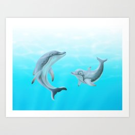 Dolphins Swimming in the Ocean Art Print