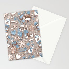 Penguin Christmas gingerbread biscuits V // brown silk background Stationery Cards