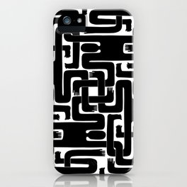 Interlaced (Black on White) iPhone Case