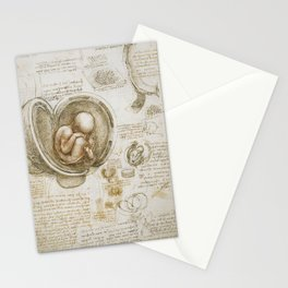 Leonardo da Vinci - Studies of the foetus in the womb Stationery Cards
