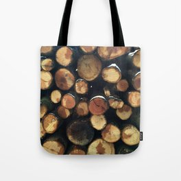 Pile of felled tree trunks Tote Bag