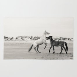 Wild Horses 5 Black And White Rug