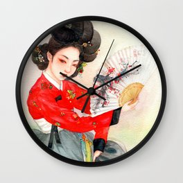 Watercolor Korean dancing beauty - Hwang Jin Yi Wall Clock