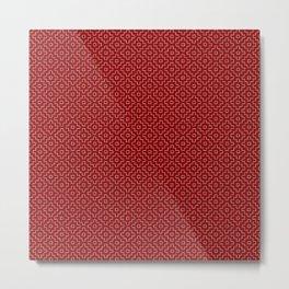 Persimmon Hitomezashi Sashiko - White on Red Metal Print