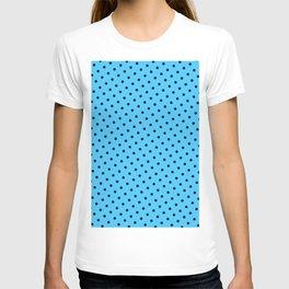 Pastel Goth Pastel Blue Retro Polka Dot (Black) T-shirt