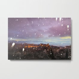 Snowing in the Alhambra, Granada, Spain at sunset Metal Print