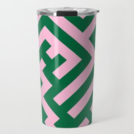 Cotton Candy Pink and Cadmium Green Diagonal Labyrinth Travel Mug
