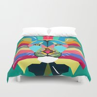 lion Duvet Covers featuring lion by mark ashkenazi