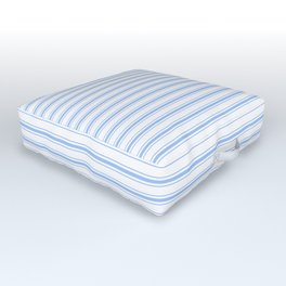 Mattress Ticking Narrow Horizontal Stripe in Pale Blue and White Outdoor Floor Cushion