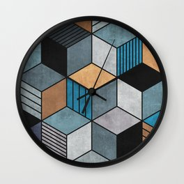 Colorful cubes - blue, grey, brown Wall Clock