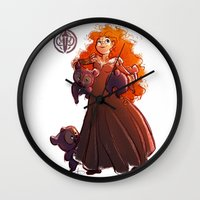 brave Wall Clocks featuring Brave by samanthadoodles