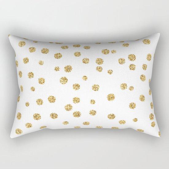 Gold glitter confetti on white - Metal gold dots Rectangular Pillow