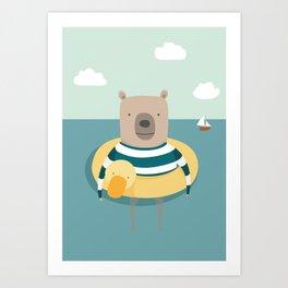 Bear in the Sea Art Print