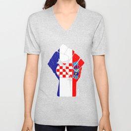 Team Croatia Flag Tee Unisex V-Neck